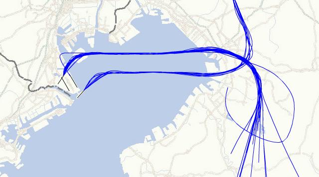 飛行コース公開システムでの該当機(ADO22)の航跡