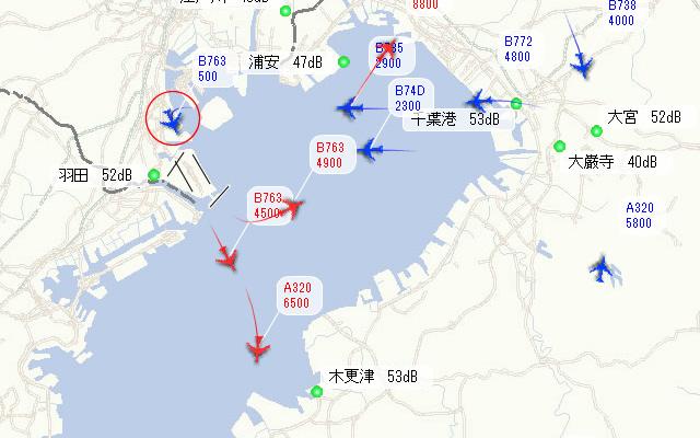 飛行コース公開システムでの該当機(ADO22)